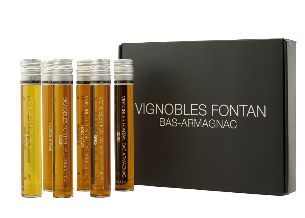 Vignobles Fontan, Set 6 tubes Armagnac, Blanche, VSOP, Hors d'Age, 15 ans, 1995, 2000